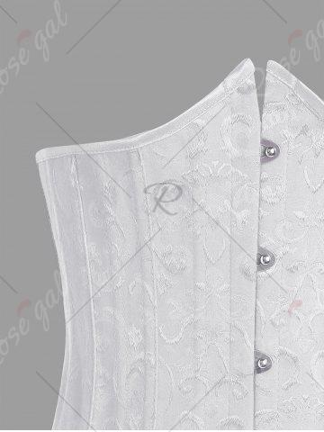 Online Lace Up Waist Training Corset - 2XL WHITE Mobile