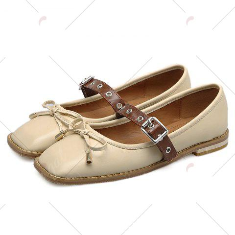 Trendy Square Toe Bowknot Mary Jane Flats - 37 APRICOT Mobile
