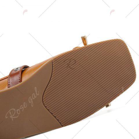 Store Square Toe Bowknot Mary Jane Flats - 38 APRICOT Mobile
