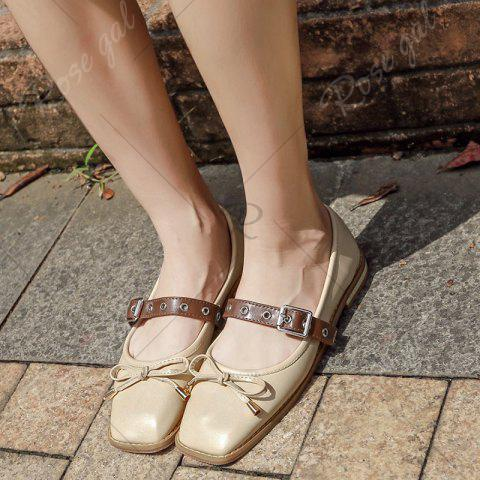 Fancy Square Toe Bowknot Mary Jane Flats - 39 APRICOT Mobile