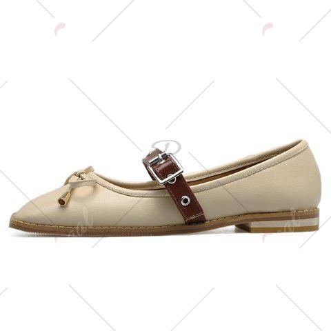Outfit Square Toe Bowknot Mary Jane Flats - 39 APRICOT Mobile