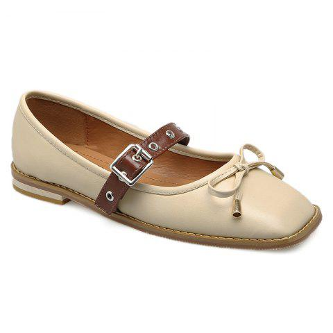 Outfits Square Toe Bowknot Mary Jane Flats - 39 APRICOT Mobile