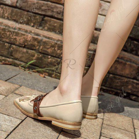 Store Square Toe Bowknot Mary Jane Flats - 39 APRICOT Mobile