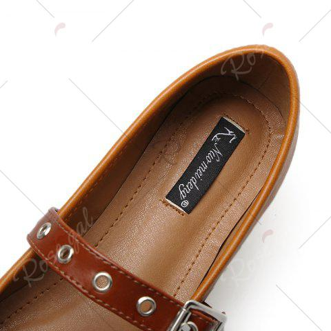 Outfits Square Toe Bowknot Mary Jane Flats - 39 BROWN Mobile