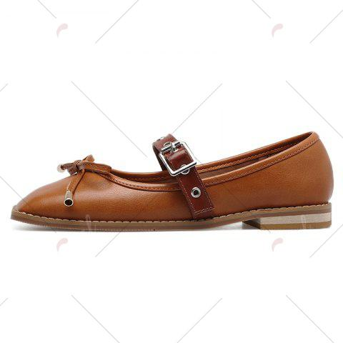 Shops Square Toe Bowknot Mary Jane Flats - 39 BROWN Mobile