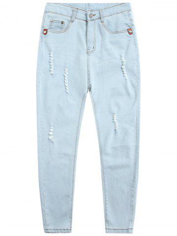Zip Fly Light Wash Distressed Jeans - Light Blue - 38