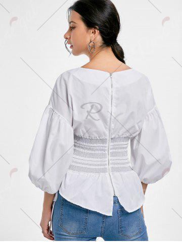Discount Lantern Sleeve Zip Waisted Blouse - S WHITE Mobile