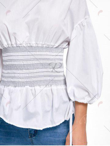 New Lantern Sleeve Zip Waisted Blouse - S WHITE Mobile