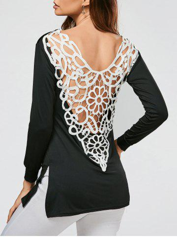 New Lace Crochet Side Slit Tunic T-shirt