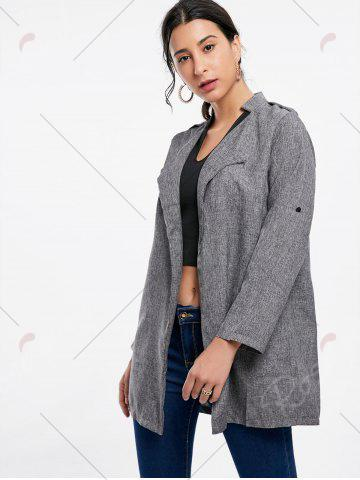 Chic Oversized Open Front Tunic Coat - S GRAY Mobile