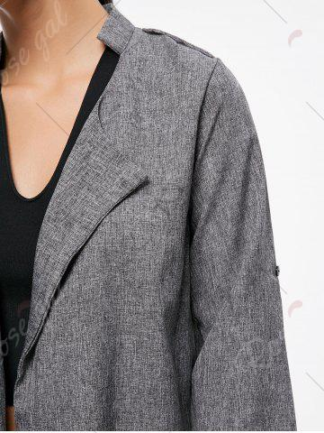 Affordable Oversized Open Front Tunic Coat - S GRAY Mobile