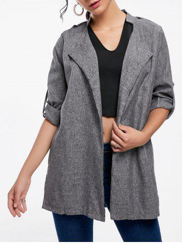 Cheap Oversized Open Front Tunic Coat - S GRAY Mobile