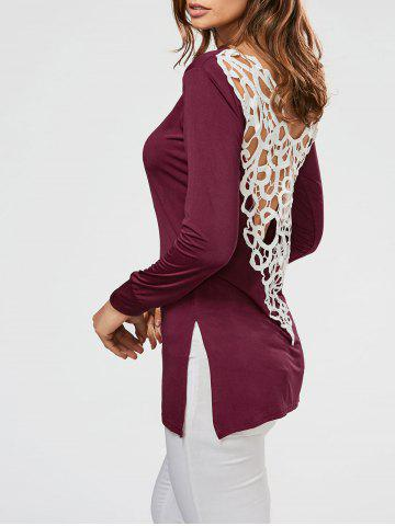 Discount Lace Crochet Side Slit Tunic T-shirt WINE RED 2XL