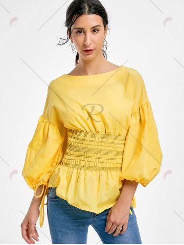 Cheap Lantern Sleeve Zip Waisted Blouse - 2XL YELLOW Mobile