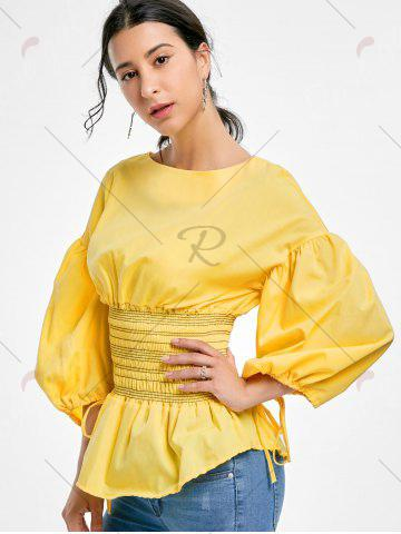 Sale Lantern Sleeve Zip Waisted Blouse - 2XL YELLOW Mobile