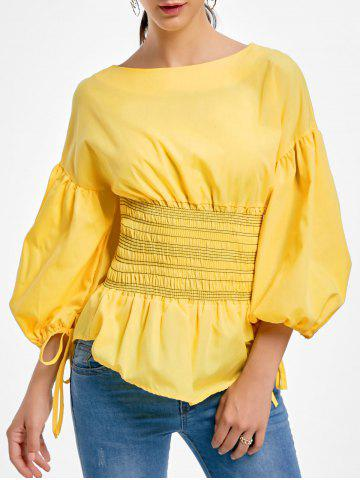 Fashion Lantern Sleeve Zip Waisted Blouse - 2XL YELLOW Mobile
