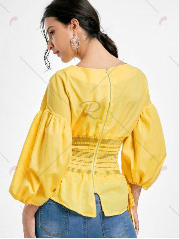 Latest Lantern Sleeve Zip Waisted Blouse - 2XL YELLOW Mobile
