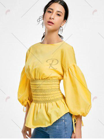 Chic Lantern Sleeve Zip Waisted Blouse - 2XL YELLOW Mobile