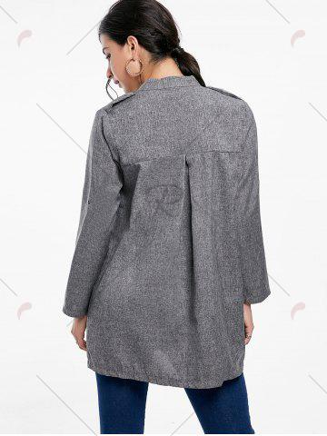 Fashion Oversized Open Front Tunic Coat - L GRAY Mobile