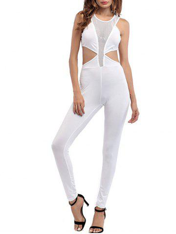 Fashion Cut Out Mesh Insert Jumpsuit - 2XL WHITE Mobile