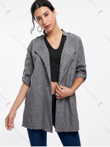Shop Oversized Open Front Tunic Coat - XL GRAY Mobile