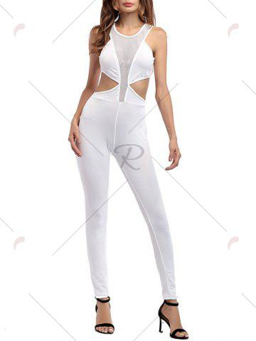 Hot Cut Out Mesh Insert Jumpsuit - XL WHITE Mobile