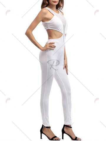 Fashion Cut Out Mesh Insert Jumpsuit - XL WHITE Mobile