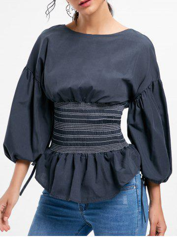 Shop Lantern Sleeve Zip Waisted Blouse - 2XL BLACK Mobile