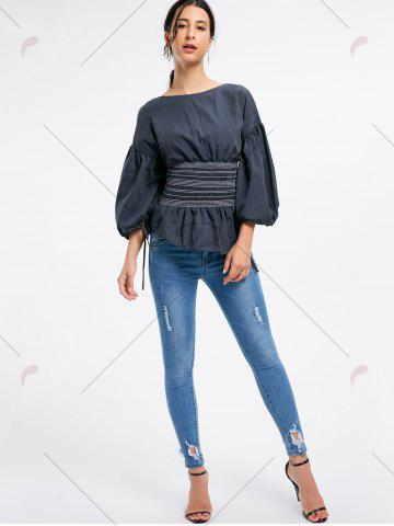 Affordable Lantern Sleeve Zip Waisted Blouse - 2XL BLACK Mobile