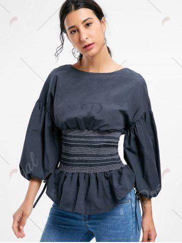 Sale Lantern Sleeve Zip Waisted Blouse - 2XL BLACK Mobile
