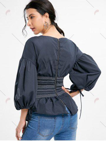 Discount Lantern Sleeve Zip Waisted Blouse - 2XL BLACK Mobile