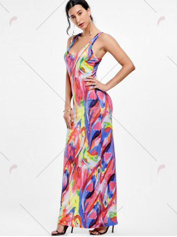 Outfit Racerback Tie Dye Maxi Tank Dress - S COLORFUL Mobile