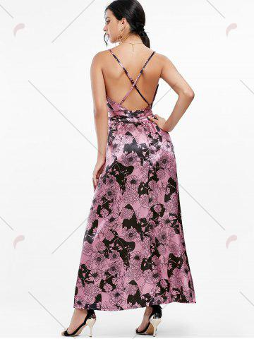 Buy Maxi Floral Backless Plunge Cami Dress - S RUSSET-RED Mobile