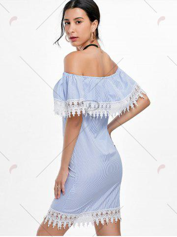 Outfits Crochet Trim Off Shoulder Striped Dress - S STRIPE Mobile