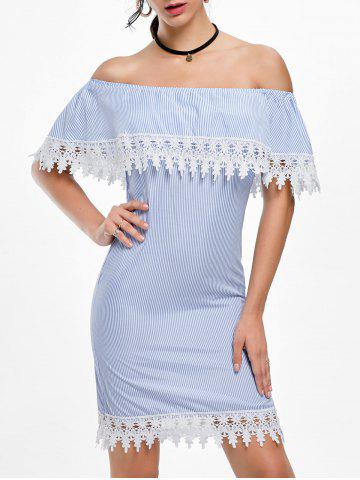 Best Crochet Trim Off Shoulder Striped Dress - S STRIPE Mobile