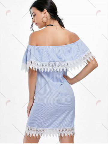 Fancy Crochet Trim Off Shoulder Striped Dress - S STRIPE Mobile