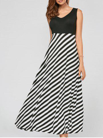 Striped A Line Long Maxi Dress - Black - Xl