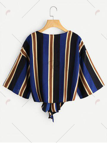 New Knot Tied Striped Chiffon Top - S COLORMIX Mobile