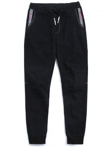 Stripe Panel Drawstring Waist Jogger Jeans - Black - M