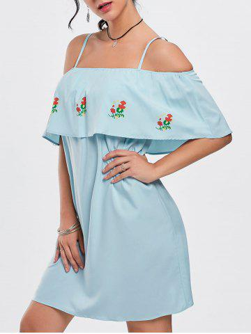 Cold Shoulder Ruffle Floral Mini Dress - Light Blue - Xl