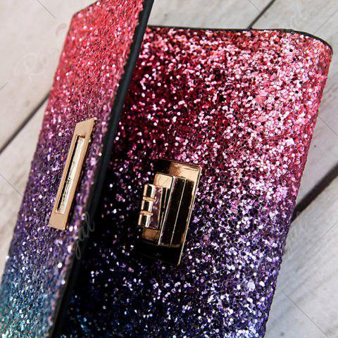 Discount Sequins Multicolor Metal Small Wallet - ROSE RED  Mobile