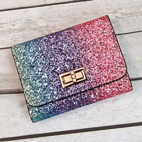 Cheap Sequins Multicolor Metal Small Wallet - ROSE RED  Mobile