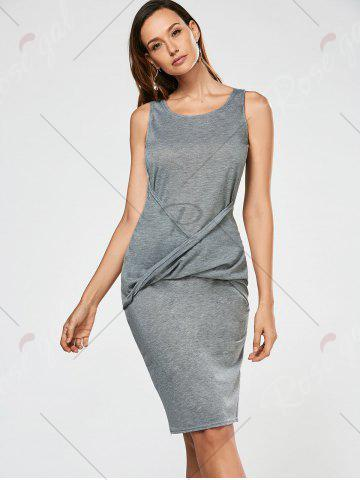Outfits Criss Cross Bodycon Tank Dress - L GRAY Mobile