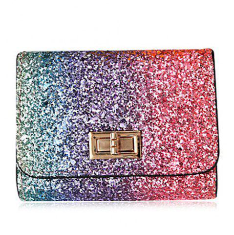 Outfits Sequins Multicolor Metal Small Wallet - ROSE RED  Mobile