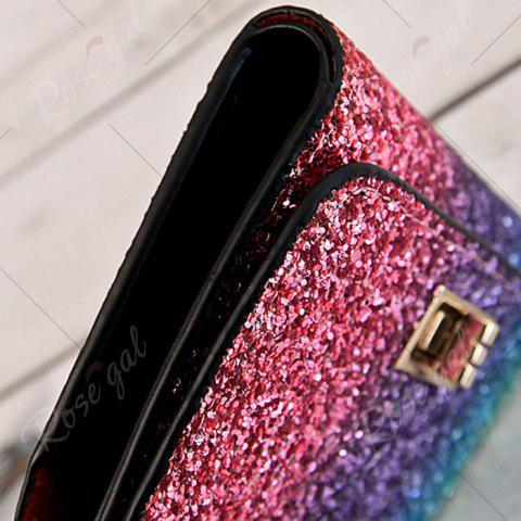 Chic Sequins Multicolor Metal Small Wallet - ROSE RED  Mobile