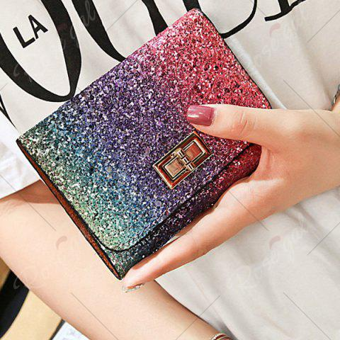 Fashion Sequins Multicolor Metal Small Wallet - ROSE RED  Mobile