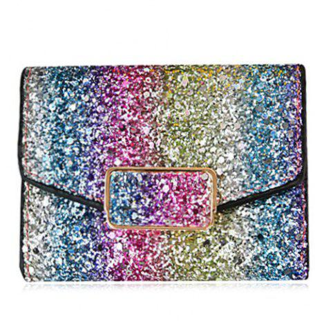 Fashion Sequins Multicolor Metal Small Wallet BLUE