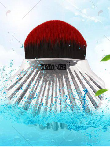 Online Plated Shell Shape Fiber Hair Foundation Brush - RED WITH BLACK  Mobile