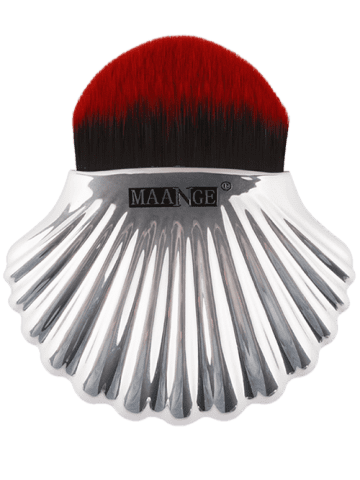 Unique Plated Shell Shape Fiber Hair Foundation Brush - RED WITH BLACK  Mobile