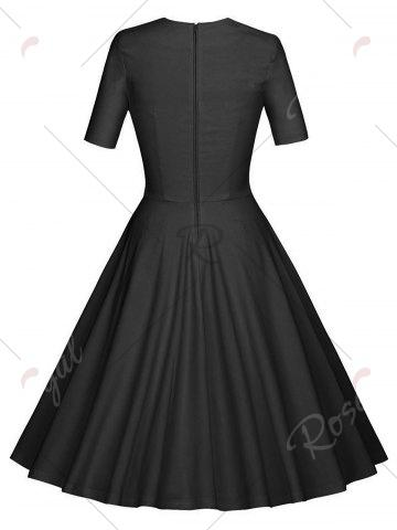 Sale Vintage Ruched Pinup Skater Party Dress - 2XL BLACK Mobile